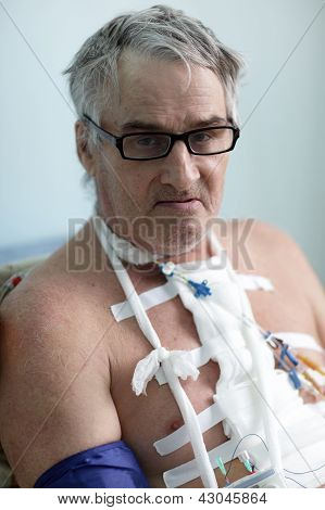 Patient With White Bandage On Chest