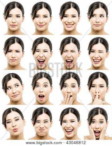 Multiple portraits of a beautiful asian women with different expressions