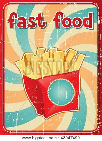 Fast food background with french fries in retro style.