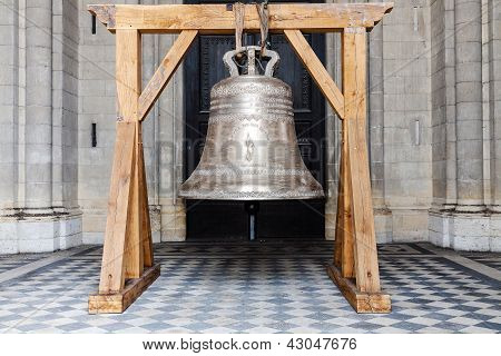 Bell In Front Of Church In Orleans