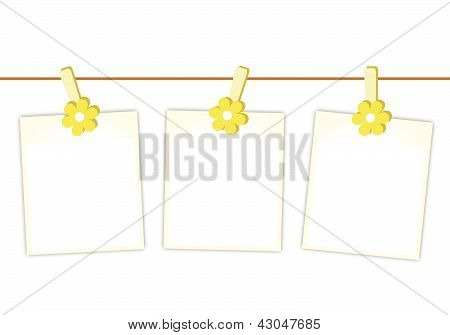 Blank Photos With Yellow Flowers Hanging On Clothesline