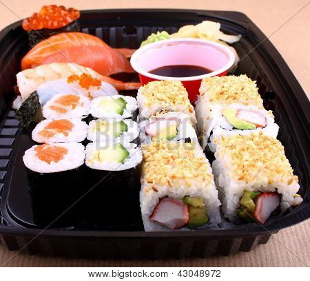Exclusive Sushi Menu In Black Delivery Box
