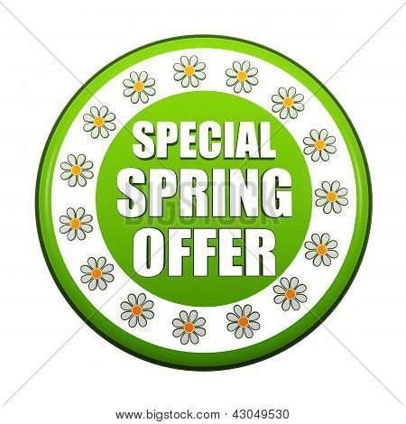 Special Spring Offer Green Circle Label With Flowers