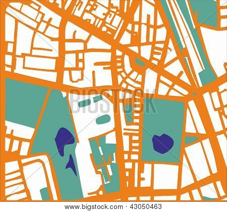 Abstract vector city map with orange streets, buildings, green park and dark blue ponds.