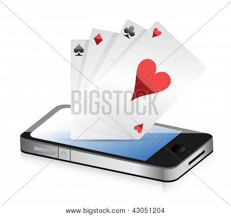 Smartphone Gambling - Poker Aces. Online Gambling