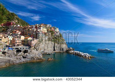 Village Of Manarola With Ferry, Cinque Terre, Italy