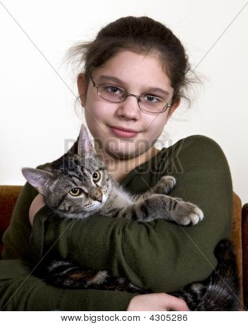 Preteen With Cat