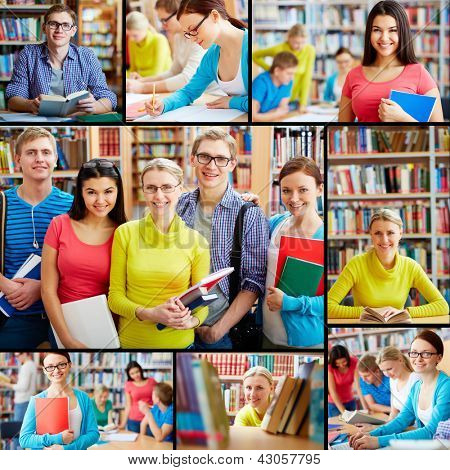 Collage of friendly students in college library