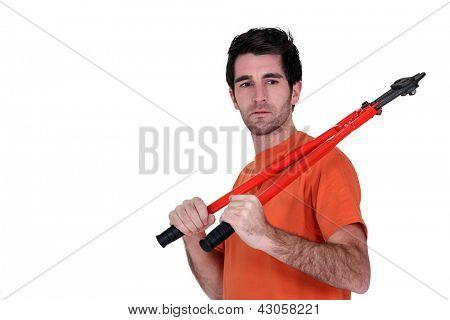 Man stood with bolt-cutter