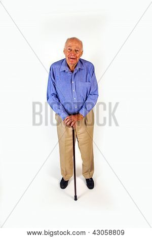 Happy Elderly Man Standing With His Walking Stick