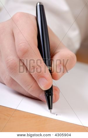 Hand, Pen, Document