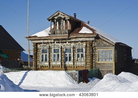 Russian Rustic Wooden House Of The Late 19Th Century