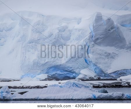 Antarctic Icebergs In The Distance