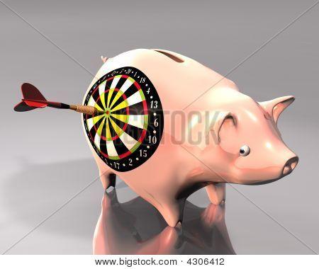 Piggy Bank And Dart Target