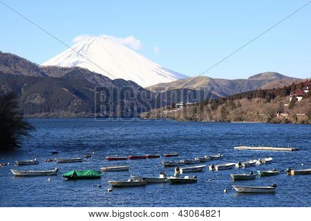 Boats parked at Lake Ashi and Mt. Fuji as background