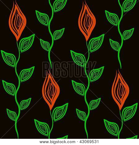 Seamless Pattern With Flower And Leaves