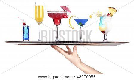Tray Full Of Alcohol. Celebration Concept