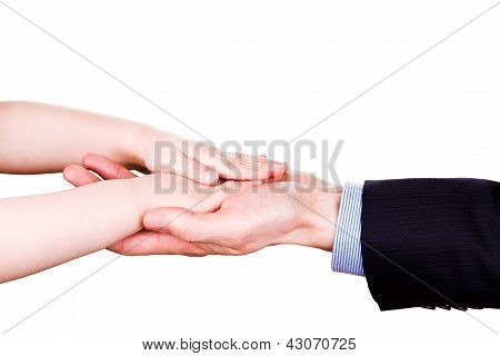 Child holding father's hand. Trust, togethterness and support concept.