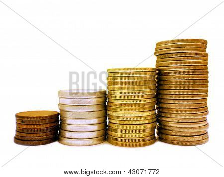 Coins stacked in bar graph form