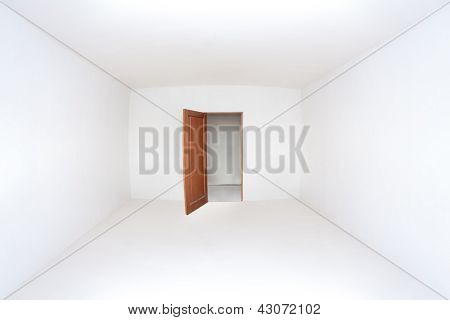 Opened Door In The Empty White Room