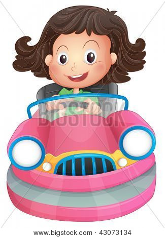 Illustration of a young girl riding on a pink bumpcar on a white background
