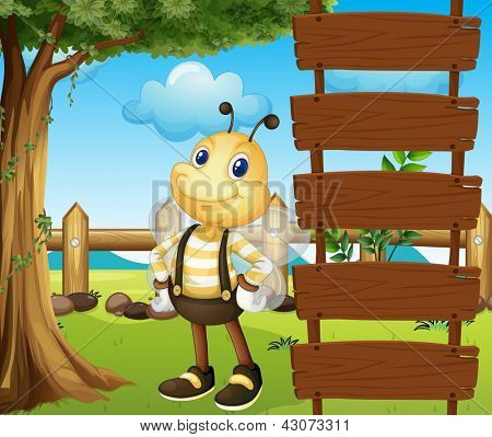 Illustration of a honeybee beside a blank template