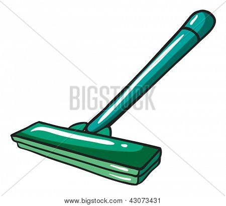 Illustration of a green mop on a white background