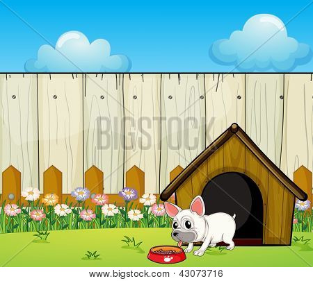Illustration of a small dog eating