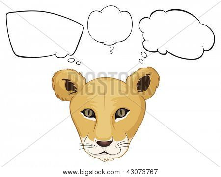 Illustration of a head of a tiger with empty thoughts on a white background