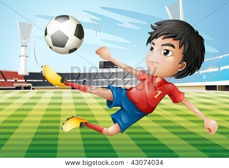 Illustration of a boy playing soccer at the soccer field