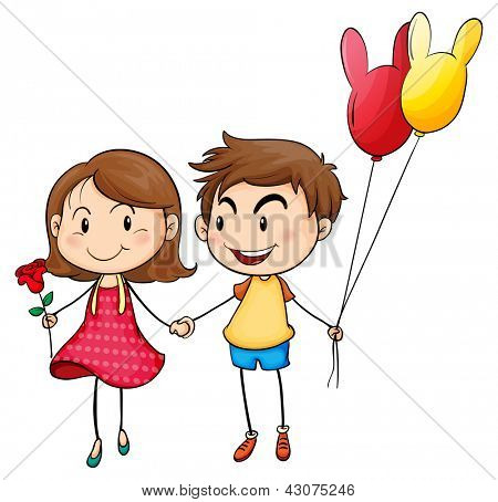 Illustration of a girl with a flower and a boy with balloons on a white background