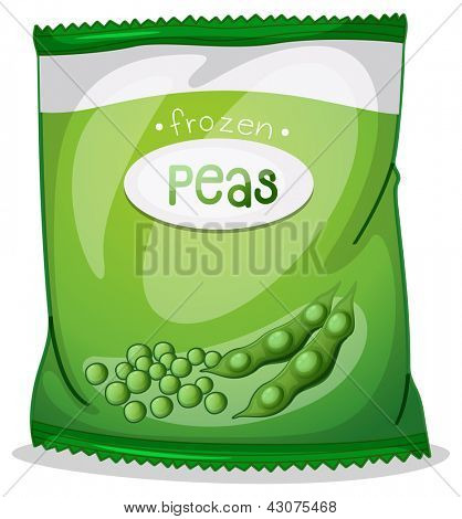 Illustration of a pack of frozen peas on a white background