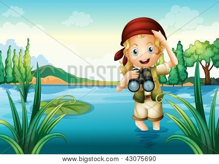 Illustration of a girl scout at the lake