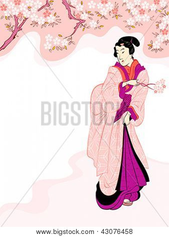 Vintage japanese geisha enjoying cherry tree blossom