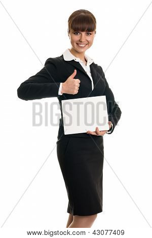 Business woman holding a card and a thumbs-up