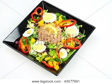 Plate with vegetable salad and tuna