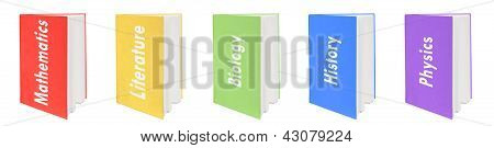 Five colorful textbooks.