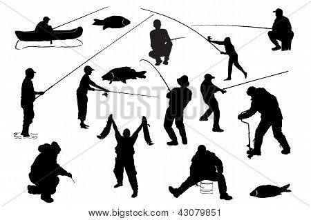 Fishermen. Vector illustration.