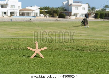 Tee Marker On A Golf Course With Golfer