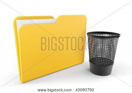 Yellow Folder With Trash Bin