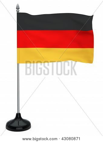 Flag Of Germany With Flagpole