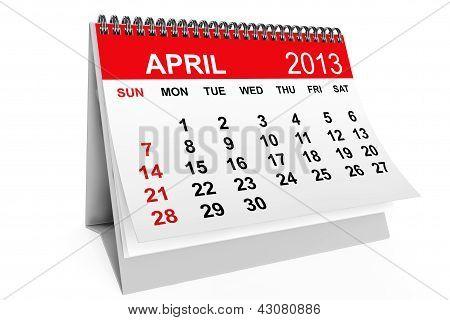 Calendario abril de 2013