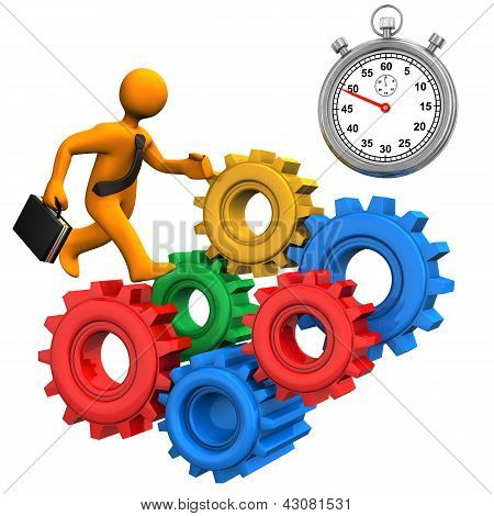 Businessman Gears Stopwatch