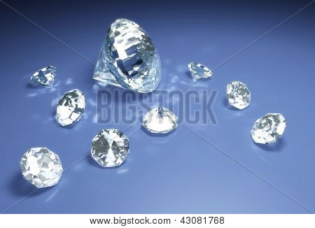 Diamonds On A Blue Surface