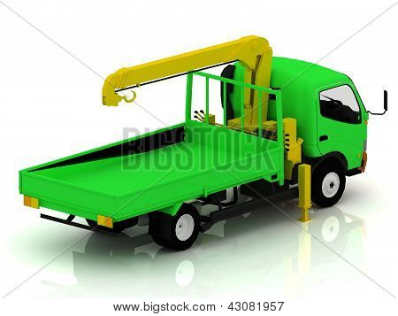 Green Truck With A Crane