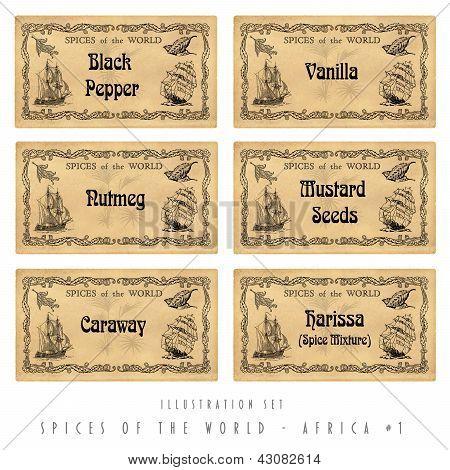 Illustration Set Spice Labels, Africa