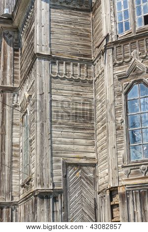 Wooden Wall Of Old Orthodoxy Church In Pobirka - Ukraine, Europe.