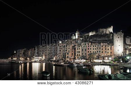 Portovenere, Night Photo On Harbor And Village Skyline. Cinque Terre, Liguria Italy