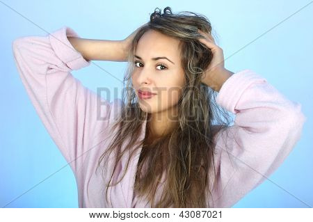 Happy Woman With Shaggy Hair