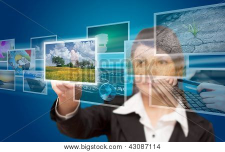 Woman Hand Reaching Images Streaming From The Deep.